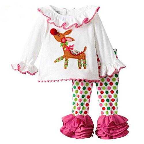 MORESAVE Vestiti della neonata di Natale Set di Cartoon cervi del chiarore del manicotto Tops + Pants Ruffle Set