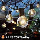 7.62 metri catena luminosa esterno 25pcs G40 luci lampadine da giardino festa impermeabileper terrazza, matrimonio, natale, bianco caldo