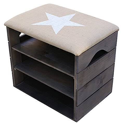 LIZA Shoes Bench (TAUPE) - Premium Vintage Wooden Shoes Organiser, Storage, Cabinet, Holder Bench with Soft Seat Cushion for Entryway, Hallway. Solid Nordic Wood (White Star)
