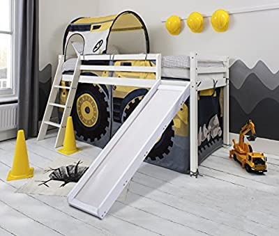 Cabin Bed Midsleeper with Diggers Tent and Tunnel and Slide