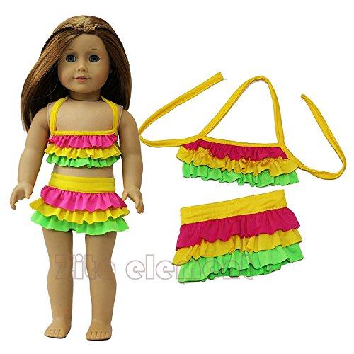ZITA ELEMENT 2pcs Sommer- Strand Badebekleidungs Bikini Ausstattung passt für 18 Zoll 45-46 cm Puppen kleidung von Hawaii Ken Strand Puppe