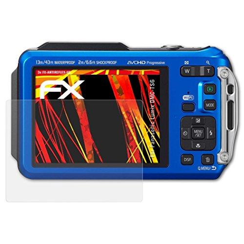 atFoliX Schutzfolie kompatibel mit Panasonic Lumix DMC-TS6 Displayschutzfolie, HD-Entspiegelung FX Folie (3X)