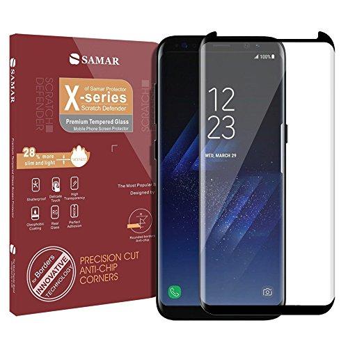 SAMAR – Samsung Galaxy S8 Protector de Pantalla Vidrio Templado [Tempered Glass Screen Protector] para Samsung Galaxy S8 Calidad Premium - Ultra fino, ligero y redondeado