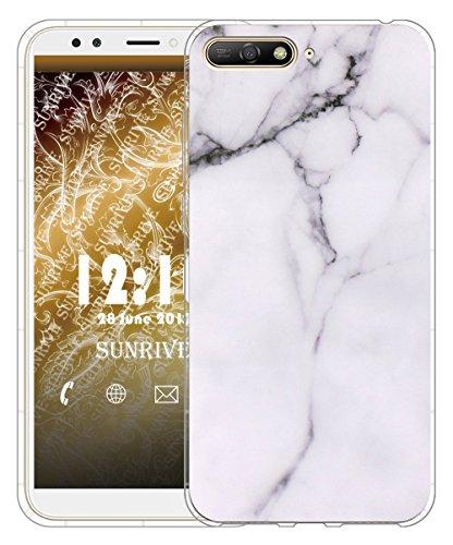 Sunrive Für Huawei Y6 2018 Hülle Silikon, Transparent Handyhülle Luftkissen Schutzhülle Etui Case für Huawei Y6 2018/Y6 Prime 2018 5,7 Zoll(TPU Marmor Weißer)+Gratis Universal Eingabestift