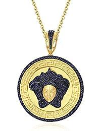 "Silvernshine 1.25 Ct Round Cut Blue Sapphire Versa Pendant 18"" Chain In 14K Yellow Gold Over"