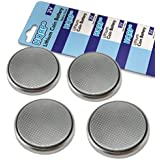 HQRP 4-Pack Coin Lithium Battery for Chrysler PT Cruiser 2006 2007 2008 2009 2010 Key Fob Remote Shell Case Cover + Coaster