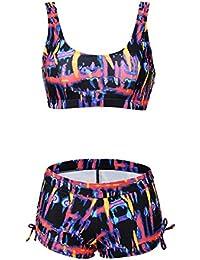 Lover-Beauty Mujer Ropa de Baño Push Up Bikini Dos Piezas Sexy Cintura Alta Halter Cuello Colgante Escote V Tirante Deportiva Espalada Descupierto Swimmingwear Verano