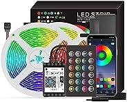 شريط اضاءة ذكي بمصابيح ليد بنموذج ار جي بي وتقنية واي فاي بطول 65.6 قدم شريط اضاءة ليد بـ5050 لون يمكن التحكم