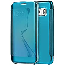 Case Samsung Galaxy S6 Flip Wallet, Samsung Galaxy S6 Espejo Cuero Piel Funda, PLECUPE Ultra Fina Elegant Flip Bookstyle Smart Clear Window View Electroplating Mirror Case Cover, Clásico Luxury Hard PC Plastic Anti Golpes Anti Rasguños Protective Funda Cubierta para Samsung Galaxy S6, Azul