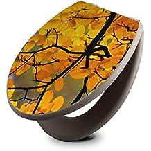 banjado - taupe Design Toilettendeckel WC Sitz Brille 36m x 5cm x 42,5cm mit Motiv Herbstgold