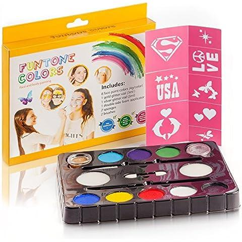 Pintura facial . Molde libre incluido. Se utiliza para la pintura corporal, fiestas, Halloween o maquillaje para niños. regalo de Navidad
