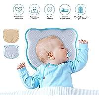 Homvik Almohada Bebé para Plagiocefalia Cojín Cabeza Bebé para prevenir/curar la Cabeza Plana Almohada Espuma de Memoria Para Bebé Recien Nacido con Dos Fundas Azul y Amarilla