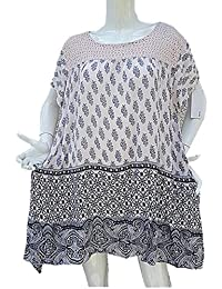 296017eca71 fashionfolie Femme Haut Top Tunique 46 48 50 52 Grande Taille Manche Courte  Fluide Ample Dentelle
