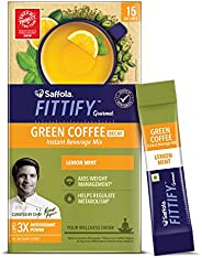 Saffola FITTIFY Gourmet Green Coffee Instant Beverage Mix for Weight Management - 30 g (Lemon Mint, 15 Sachets