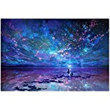 50 X 40CM DIY 5D Diamond Painting Aurora Stars by Number Kits, Crystal Diamond Embroidery Painting Cross Stitch for Home Deco