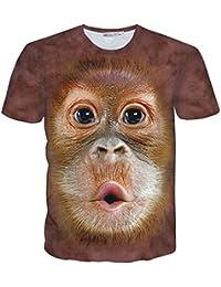 Pizoff Unisex Sommer Leicht Bunt Bequem Cool Digital Print Schmale Passform T Shirts mit Bunt 3D Muster