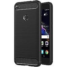 Funda Huawei P8 Lite 2017, AICEK Negro Silicona Fundas Para Huawei P8 Lite 2017 Carcasa P8 Lite 2017 Fibra De Carbono Funda Case