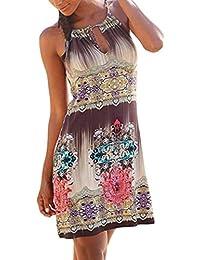 Femme ete Automne Longue Simple Grande Taille Courte Chic Soiree Vintage  Halter Cou imprimé Bobo Manches 7b45d0a3f497
