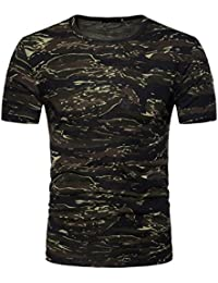 Mens Short Sleeve Shirts,Moonuy,Mens Shirts Casual,Boy Men Camouflage Print Workout Winetr Autumn Summer T-Shirt Casual Fashion Handsome Stylish T-Shirt Tops Blouse Pullover For Men