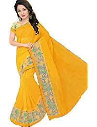 Aarohi Women's Fancy Cotton mix Saree_Yellow