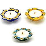 Aapno Rajasthan Beautiful Blue & Yellow Floral Shape Wax Filled Candle Diyas For Diwali