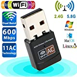 USB Wifi Adapter Ac 600Mbps Dual Band 150Mbps+5G 433Mbps USB WiFi Dongle Wireless Network Card Adapter 802.11ac For Laptop Desktop PC Supports Windows 10/8/7/Vista/XP