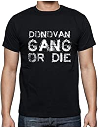 Donovan Family Gang , Camiseta para las hombres, manga corta, cuello redondo, negro