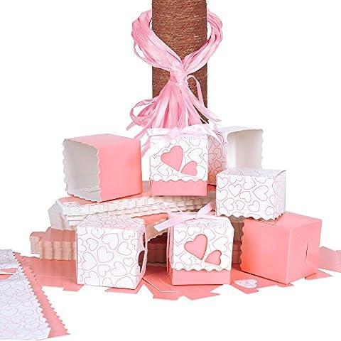 (5*5*5cm) 100 pz Scatole Portaconfetti di Carta, incluso Nastrino, Bomboniere Regalo Segnaposti Decorazioni per Festa Matrimonio Battesimo Compleanno (Rosa)