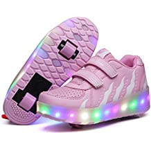 AIMOGE LED Zapatillas Deporte Patín Ruedas Luminoso Formadores Flying Niños LED con un adulto Rueda Intermitente Zapatos