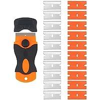 ARTGEAR Rascador de vidrio y vitrocerámica - Especial para Vitro-Cerámicas y Placas de Inducción-10 piezas Acero Inoxidable Cuchillas + 10 piezas Plástico Cuchillas