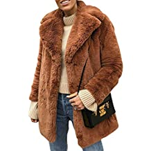 Terryfy Damen Pelz Mantel Elegant Lang Warm Fellmantel Winter Fur Coat Jacke f5e1ced724