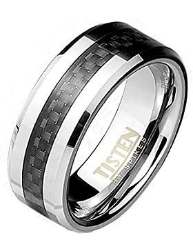 Paula & Fritz® Ring Tisten Titan Wolfram silber 8mm breit Ring mit Einlagerungen aus Carbonfiber schwarz und abgerundeter...