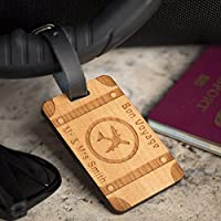 Personalised Laser Engraved Wooden Luggage Tag with Leather Strap - Travel Trunk Design