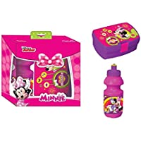 Diakakis 0561612Picnic Plastic Lunch Box and Water Bottle Set–Minnie Mouse–16x 11x 6cm