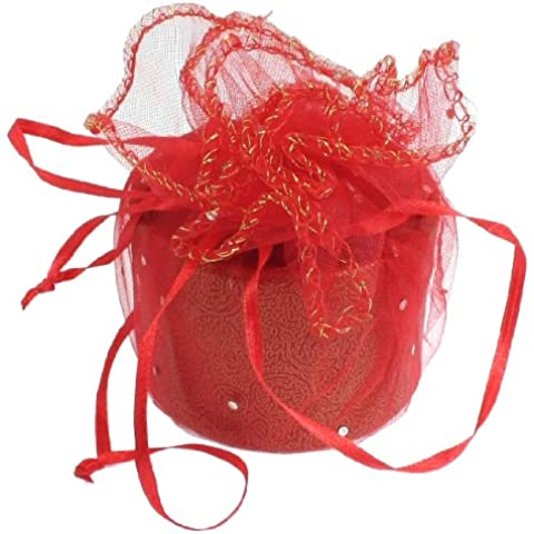 Rojo Chifón Envuelto Cilindro Forma Cartón Regalo Caso Caja