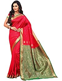 Craftsvilla Women's Silk Blend Zari Work Traditional Saree With Unstitched Blouse Piece