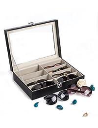 CO-Z Caja de Cuero para Gafas Estuche para Guardar y Exhibir Gafas/ Relojes/ Joyas/ Anteojos Caja de Almacenamiento 8 Compartimentos 33.5*24.5*8.5cm