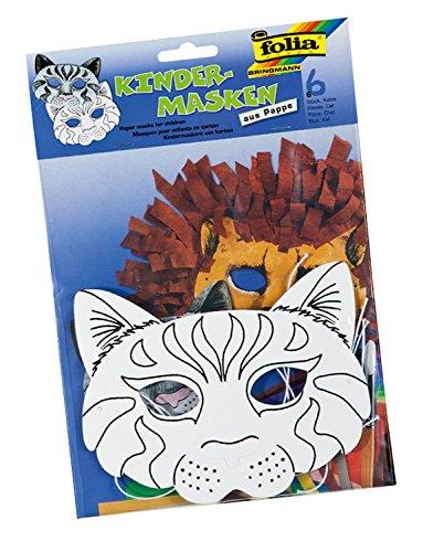 masken Katze, aus Pappe, 6 Stück, weiß, zum selbst Bemalen und Gestalten, für Kinder, Jungen und Mädchen, ideal für Kindergeburtstage und Partys ()