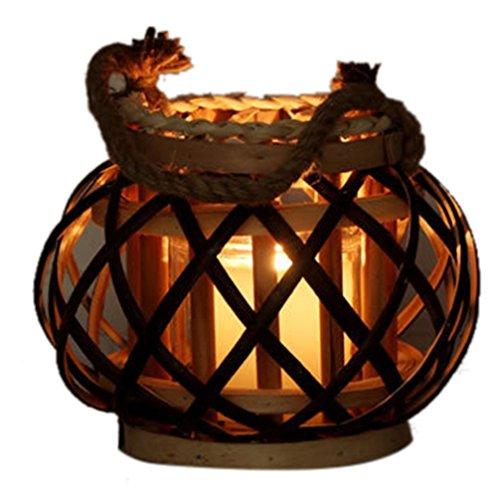 icegrey Asian Ratten Cilindro gabbia lanterna porta candela a mano lampada, Rattan, Vedere immagine, small