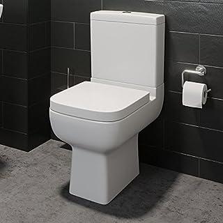 Affine Modern Square Close Coupled Bathroom Toilet Ceramic & Soft Close Seat White