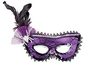 Boland 00299Máscara Venezia Telaraña con araña y plumas, morado/negro, talla única