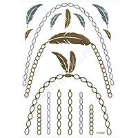 ღ Ys012 Flash Tattoo tatuaje temporal pegatinas etiquetas pulseras de oro joyas de oro etiqueta engomada de la hoja de Metal-metálico del cuerpo