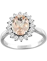 Revoni 14ct oro colgantes Natural anillo diamantes 9 x 7 mm Oval