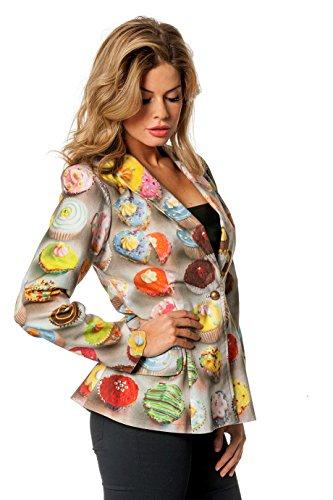 Wilbers 4333 Damenkostüm Sakko Damen Multi Cupcake Jacke Kostüm Damen Karneval Fasching