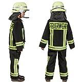 Kostüm Feuerwehr Junge Uniform Feuerwehrmann Anzug Fasching (104, Schwarz) Test