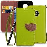 Slynmax Ledertasche Schutzhülle für Lenovo/Moto G5 Stand Hülle Wallet Flip Case im Handytasche Lanyard Strap Klapphülle Folio Cover Rückseite Brieftasche Stand Magnet Magnetverschluss (Grün)