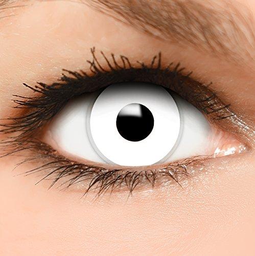 """Farbige Kontaktlinsen """"Zombie"""" in weiß, weich ohne Stärke, 2er Pack inkl. Behälter und 10ml Kombilösung - Top-Markenqualität, angenehm zu tragen und perfekt zu Halloween oder Karneval"""