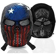 Máscara Stargoods en forma de cráneo para airsoft y paintball - Con malla metálica, para paintball, pistolas de aire comprimido y juegos de guerra, American Skull
