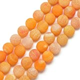 Perlin-Piedras Preciosas Perlas de ágata 8mm Mate Amarillo Naranja Redondo...