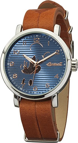 Ingersoll Disney Women's Quartz Analogue Display Watch with Black Dial and Brown Leather Strap DIN007SLBR